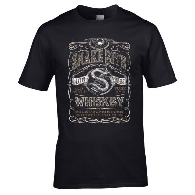 Snake Bite Whiskey T-Shirt - 100% Proof Old Style Pure Rye Unisex Mens Gift Top